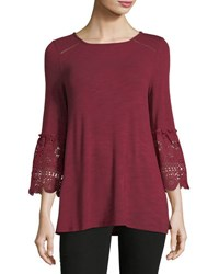 Neiman Marcus Lace Cuff Jersey Tee Red