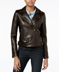 Lucky Brand Faux Leather Moto Jacket Dark Chocolate