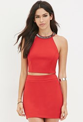 Forever 21 Beaded Halter Top Red