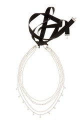 Spring Street Chain And Imitation Pearl Self Tie Necklace Metallic