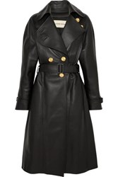 Alexandre Vauthier Double Breasted Leather Coat Black