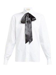 Alexandre Vauthier Bow And Crystal Trimmed Cotton Poplin Shirt White Multi