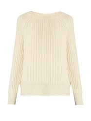 Nili Lotan Penelope Ribbed Knit Alpaca Blend Sweater Ivory