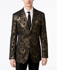 Tallia Big And Tall Men's Slim Fit Black Gold Paisley Sport Coat