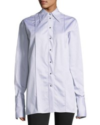 Helmut Lang Long Sleeve Striped Oversized Button Front Shirt Gray