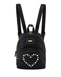 Betsey Johnson Quilted Pearly Heart Backpack Black