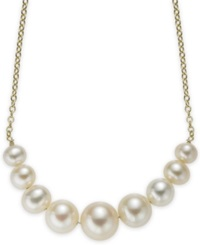 Macy's 14K Gold Graduated Cultured Freshwater Pearl Frontal Necklace 5.5Mm To 9.5Mm White