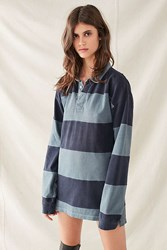 Urban Renewal Recycled Overdyed Rugby Shirt Dress Charcoal
