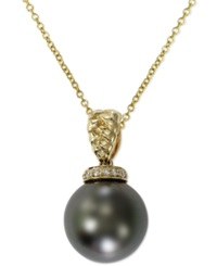 Effy Collection Effy Tahitian Pearl 11Mm And Diamond Accent Pendant Necklace In 14K Gold Gray