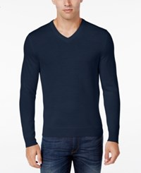 Club Room Men's Merino Wool V Neck Sweater Only At Macy's Navy Blue