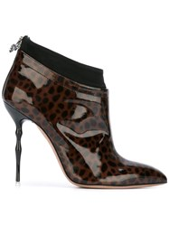 Francesca Mambrini Leopard Pattern Ankle Boots Brown