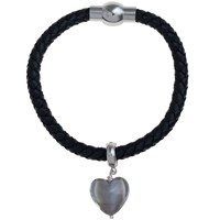 Martick Bohemian Glass Heart Woven Leather Bracelet Grey