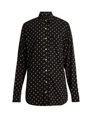 R 13 Skull Print Silk Shirt Black Multi