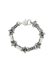 King Baby Studio Skull And Fleur De Lis Light Link Bracelet Metallic
