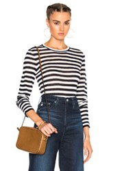 Jenni Kayne Cropped Crew Sweater In Blue Stripes Blue Stripes