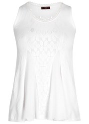 High Mascot Mesh And Stretch Lace Top White