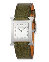 Herm S Heure H Mm Watch With Green Ostrich Leather Strap