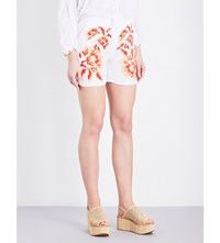 March 11 Floral Embroidered Linen Shorts White Tan Coral Lining