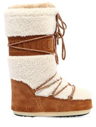 Moon Boot Shearling And Suede Sand Off White