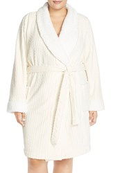 Nordstrom Cable Knit Plush Robe Plus Size Ivory Pristine