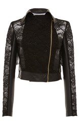 Francesco Scognamiglio Leather And Lace Motorcycle Jacket Black