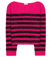 Saint Laurent Striped Wool And Mohair Blend Sweater Pink