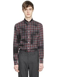Lanvin Spray Paint Checked Light Flannel Shirt