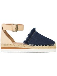 See By Chloe Frayed Denim Espadrilles Blue