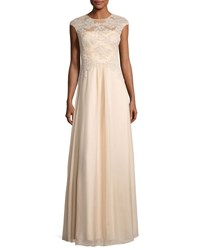 Kay Unger New York Floral Embroidery Chiffon Overlay Gown Champagne