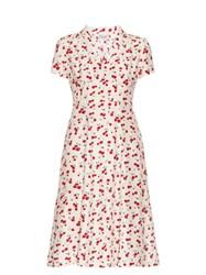 Hvn Morgan Cherry Print Short Sleeved Dress Red White