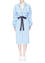 Johanna Ortiz 'Lioness' Puff Sleeve Tie Waist Stripe Trench Coat Multi Colour