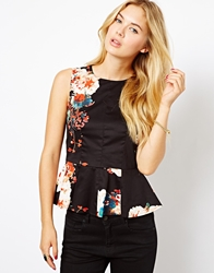 Closet Peplum Top In Floral Print Multi