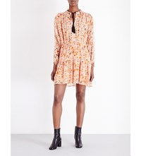 The Kooples Floral Print Silk Chiffon Dress Orange