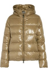 Duvetica Thiacinque Quilted Shell Hooded Down Coat Tan