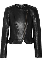 Diane Von Furstenberg Heather Peplum Leather Jacket