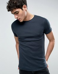 Bellfield Muscle Fit T Shirt In Waffle Navy