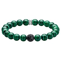 Thomas Sabo 'S Rebel At Heart Obsidian And Simulated Malachite Bracelet Green