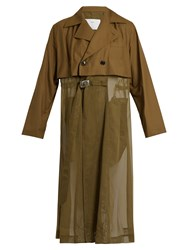 Toga Sheer Panel Trench Coat Khaki