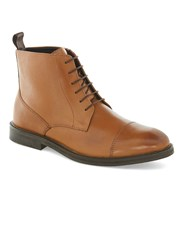 Topman Brown Tan Leather Lace Toecap Boots