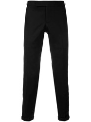 Thom Browne Seamed Elastic Stripe Skinny Wool Trouser Black