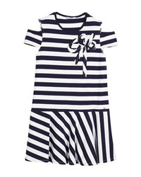Mayoral Cold Shoulder Stripe Dress Size 8 16 Navy