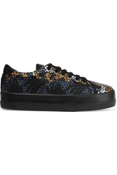 Carven Sequined Twill Sneakers Black