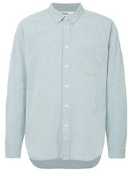 Margaret Howell Long Sleeve Fitted Shirt Blue