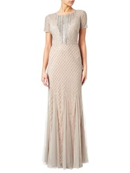 Adrianna Papell Petite Short Sleeve Beaded Gown Silver Nude