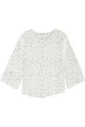 Iro Gwen Open Knit Trimmed Printed Silk Blouse Ivory