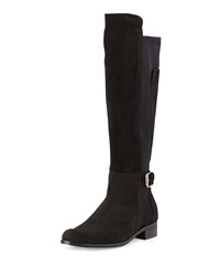 Charles David Suede And Jersey Knee High Boot Black