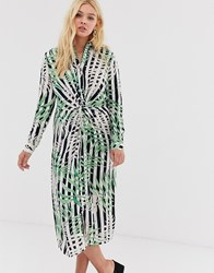 Qed London Midi Shirt Dress With Knot Front Detail In Stripe And Leaf Print Multi