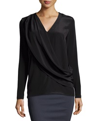 Nicole Miller Liam Enzyme Washed Silk Draped Top Black