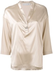 Fabiana Filippi V Neck Blouse Women Silk Elastodiene 42 Nude Neutrals