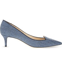 Jimmy Choo Allure 50 Woven Pointed Toe Courts Navy